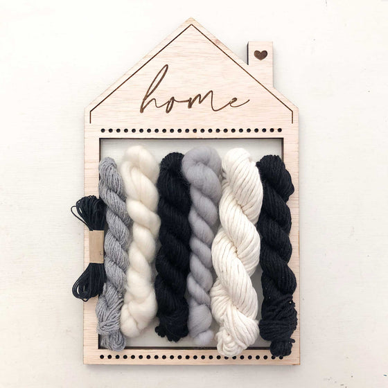 monochrome colour palette natural yarn, cotton, merino wool roving, warp thread