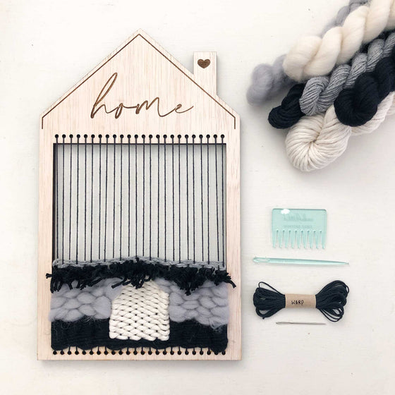 home shape loom weaving diy kit materials engraved home design