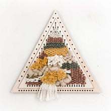 shape loom weaving diy kit triangles set of two, woodland theme yarn