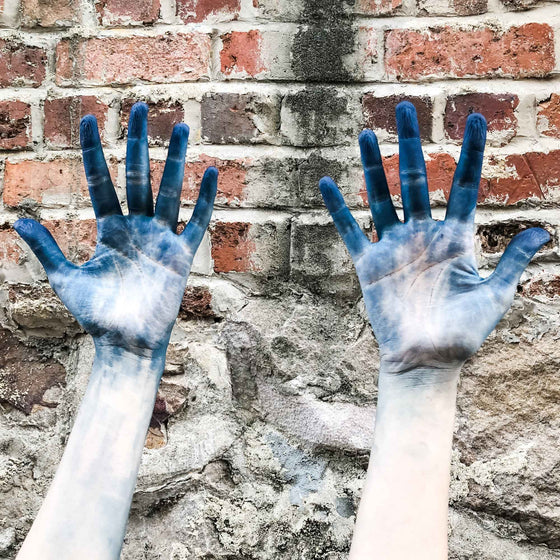 hands after indigo dyeing workshop