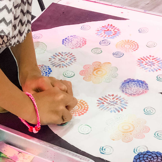 kids block printing workshop