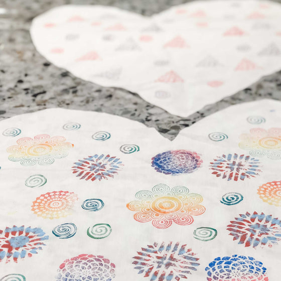 block printed fabric by kids heart shape pillow
