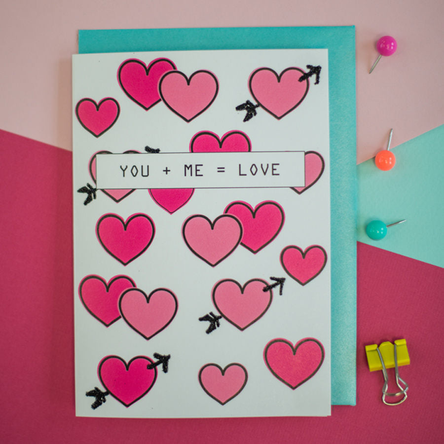 Anniversary card love You + me= Love greeting card, valentines card, anniversary card