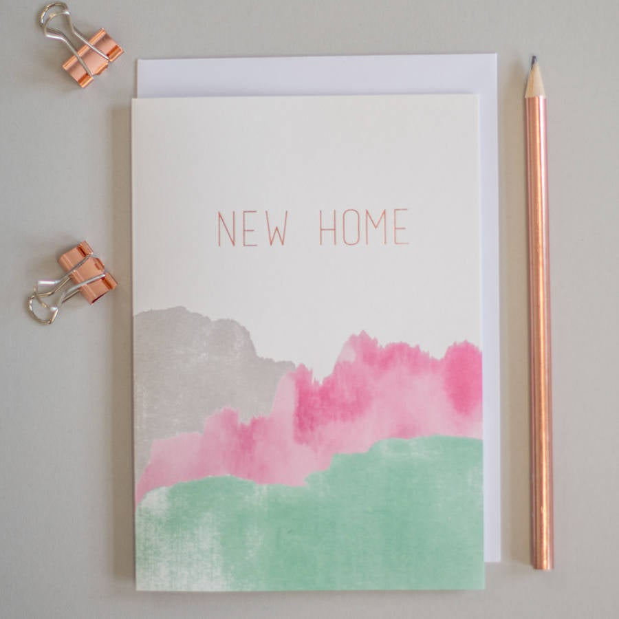 New home card gold foil greeting card, new home card