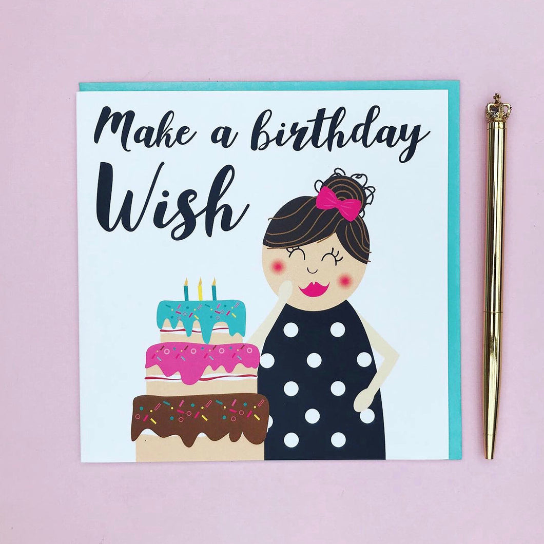 Birthday card cute - Make a birthday wish - greeting card