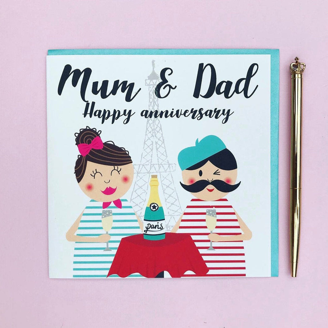 Mum and Dad anniversary card, anniversary card, mum and dad cards