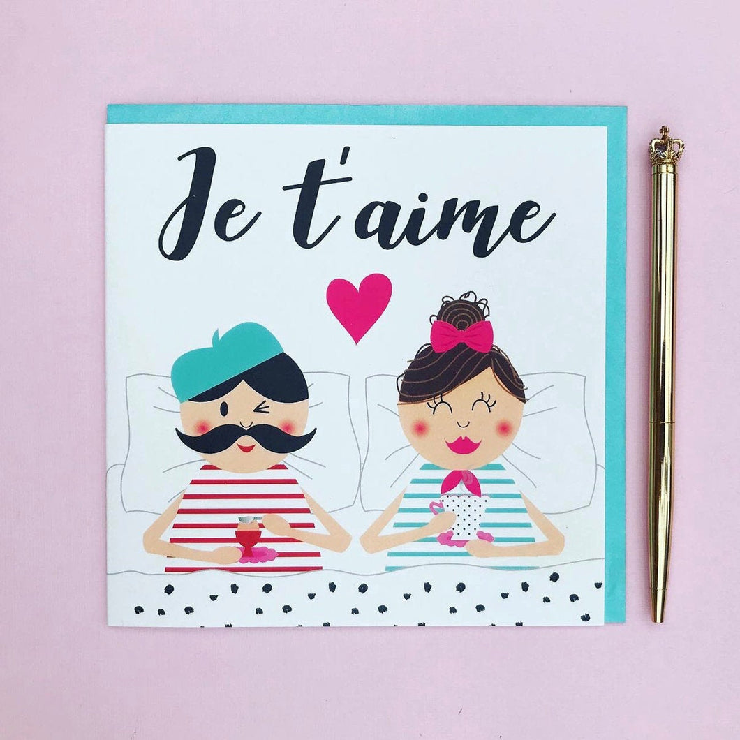 Anniversary card husband - wife - boyfriend - girlfriend -  Je t'aime, anniversary card, valentines day card, valentines card