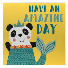 Load image into Gallery viewer, Kids birthday card - panda dresses as mermaid - fancy dress - children's greeting card