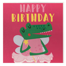 Load image into Gallery viewer, Kids birthday card - crocodile dressed as a fairy - fancy dress - Children's birthday card
