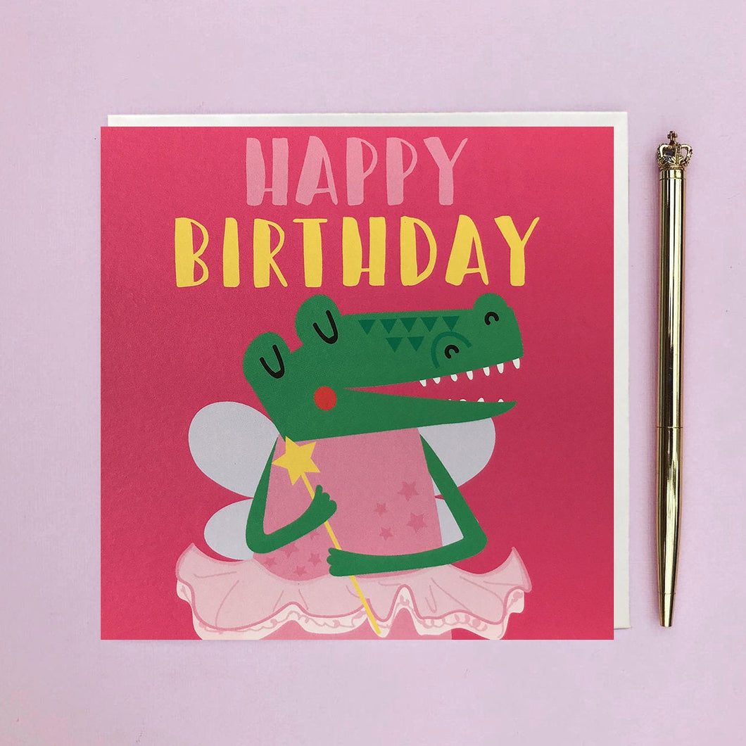 Kids birthday card - crocodile dressed as a fairy - fancy dress - Children's birthday card