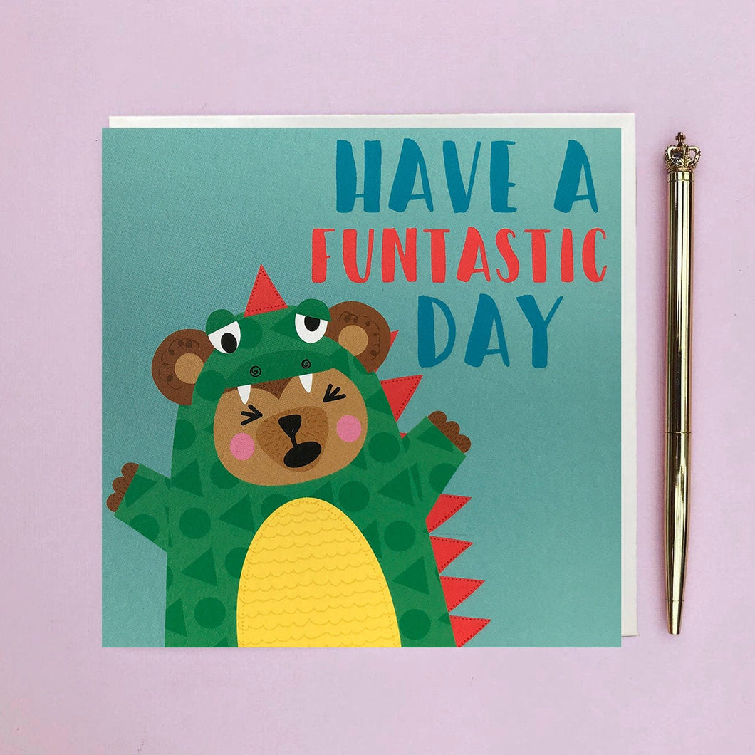 Children's birthday card - card for child children  bear dressed as a dinosaur - fancy dress - children's greeting card