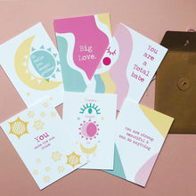 Load image into Gallery viewer, Cosmic Positive postcards set of 6, friendship, family, love, Wall art