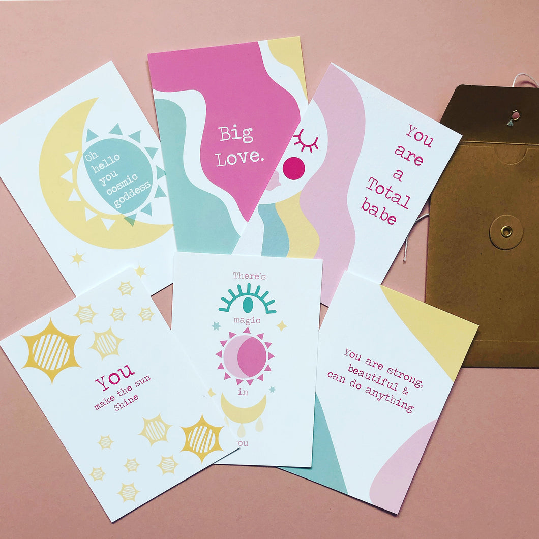 Cosmic Positive postcards set of 6, friendship, family, love, Wall art