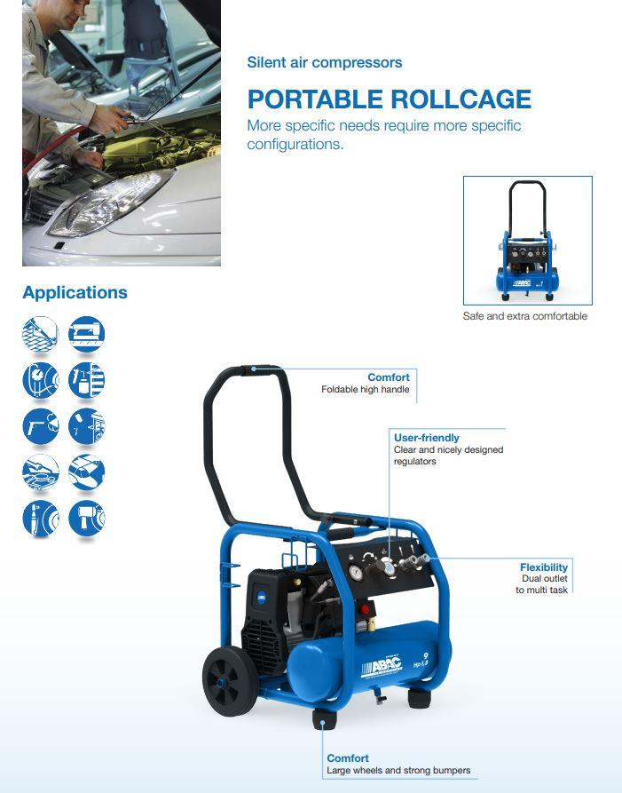 1129740345 PORTABLE ROLLCAGE OS20P UK OIL-FREE COMPRESSOR