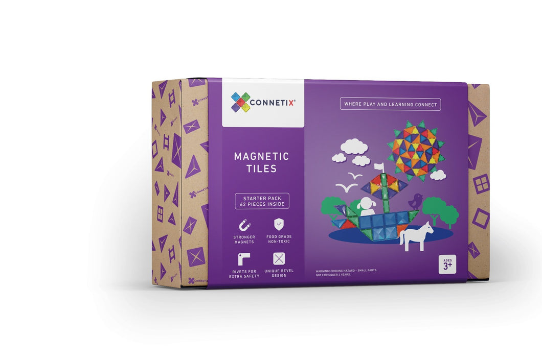 Magnetic Building Tiles - 62 Piece Set
