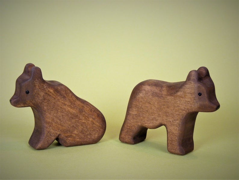 Wooden Brown Bear Set of 2 (Little - Sitting and Standing)