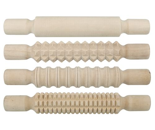 Wooden Pattern Rolling Pin 4 Pack