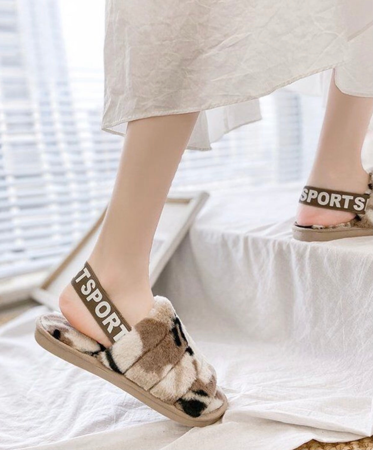 Beige Camo Fluffy Slippers