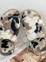 Load image into Gallery viewer, Beige Camo Fluffy Slippers