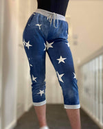 Load image into Gallery viewer, Grey Band Joggers- White Star Denim