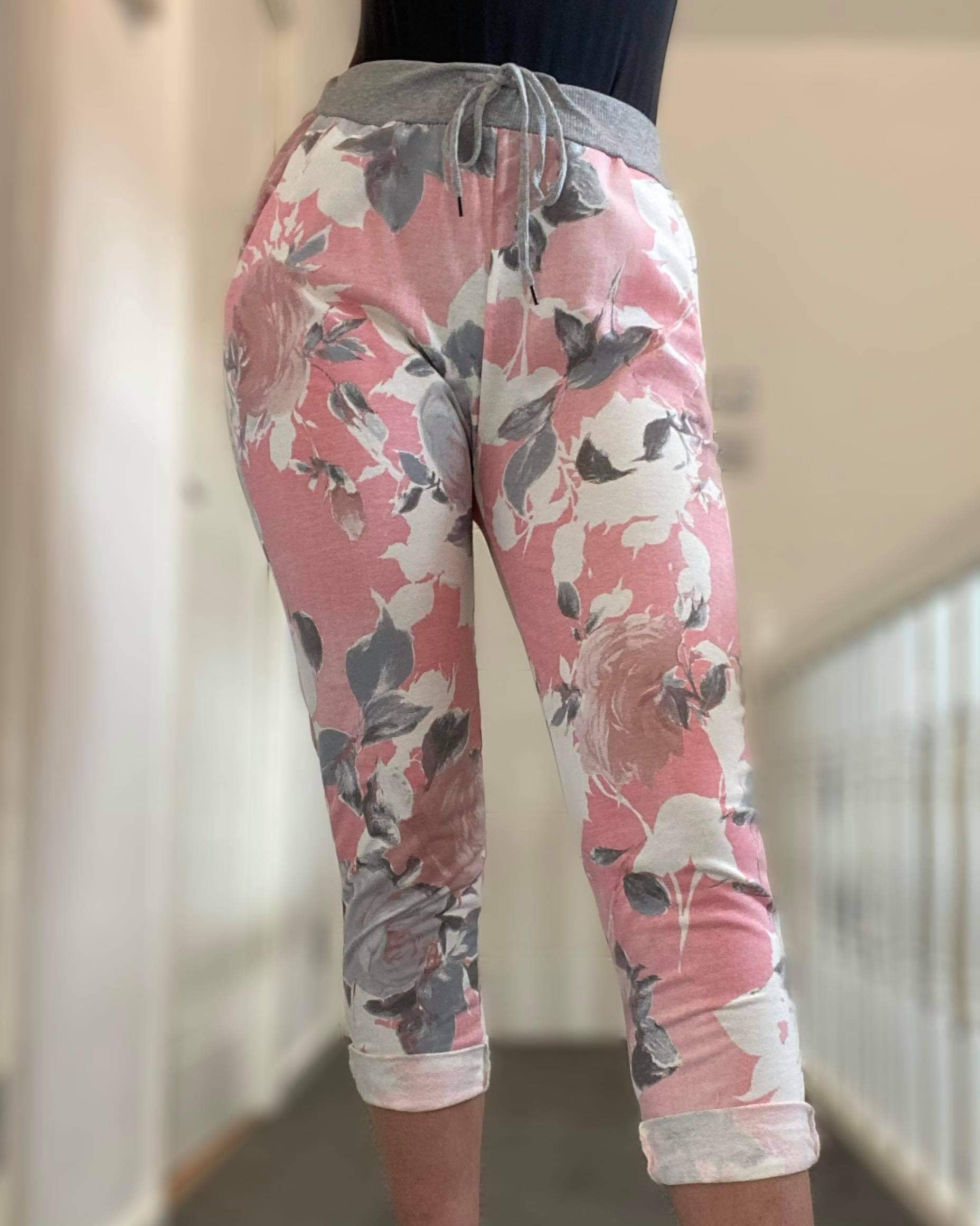 Grey Band Joggers- Pink Grey Flower