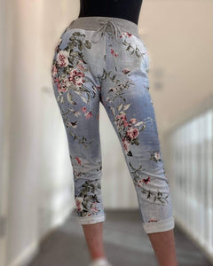 Grey Band Joggers- Floral Light Denim