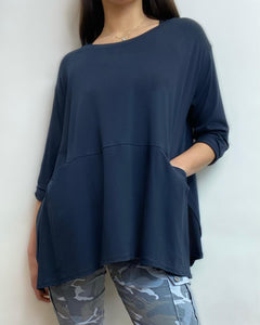 B&B Split Side Pocketed Top- Navy