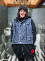 Load image into Gallery viewer, Red Label By Design- Denim Jacket/ Grey Sweat Hoodie