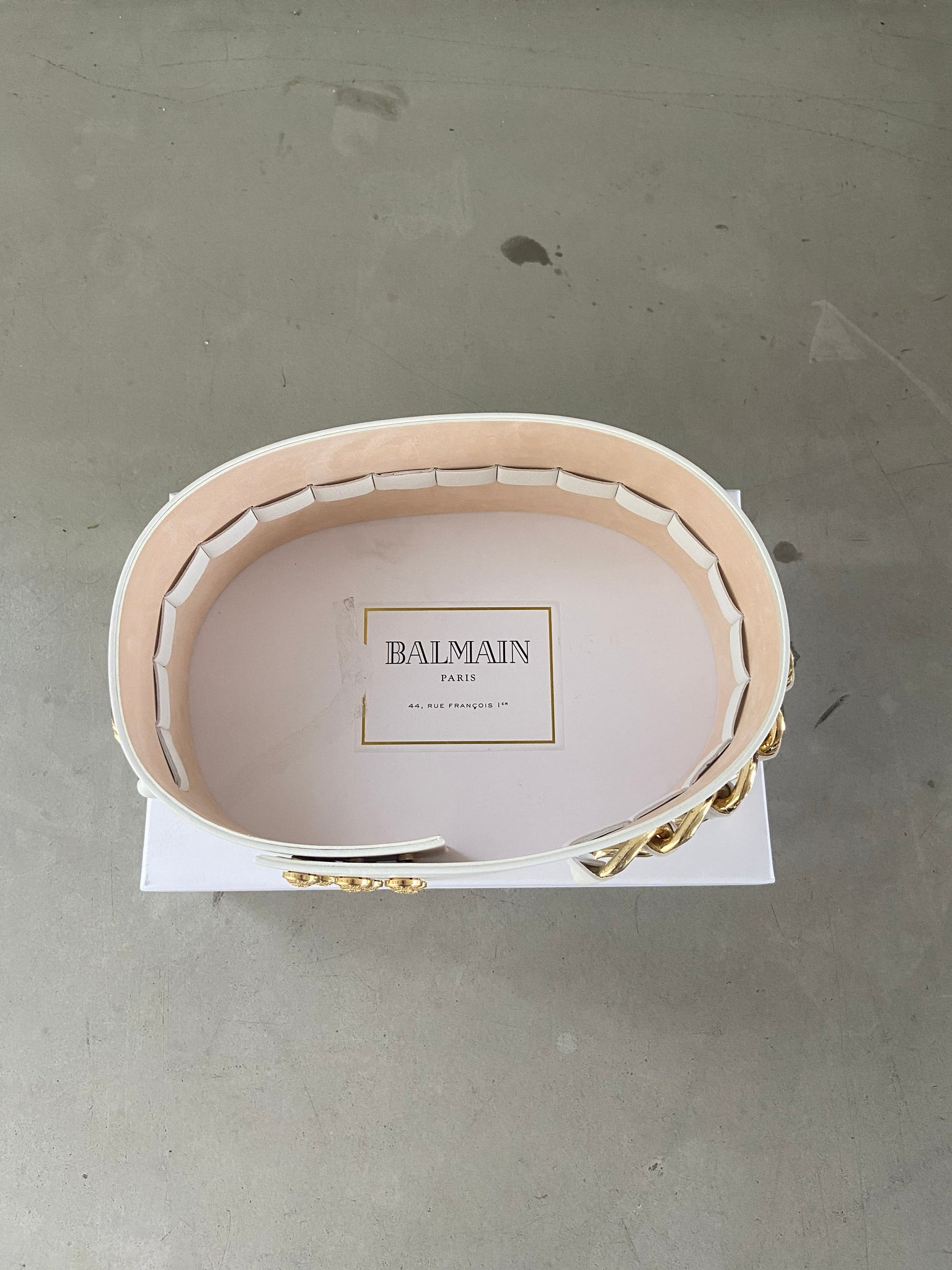 Balmain Gold-Chained Leather Belt