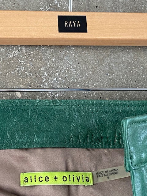 Alice & Olivia Green Leather Skirt