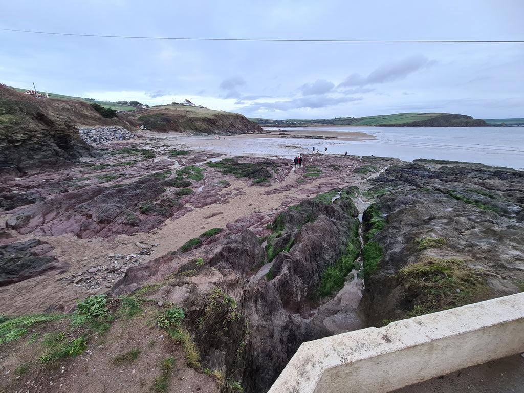 Bigbury with all the sand washed out to sea