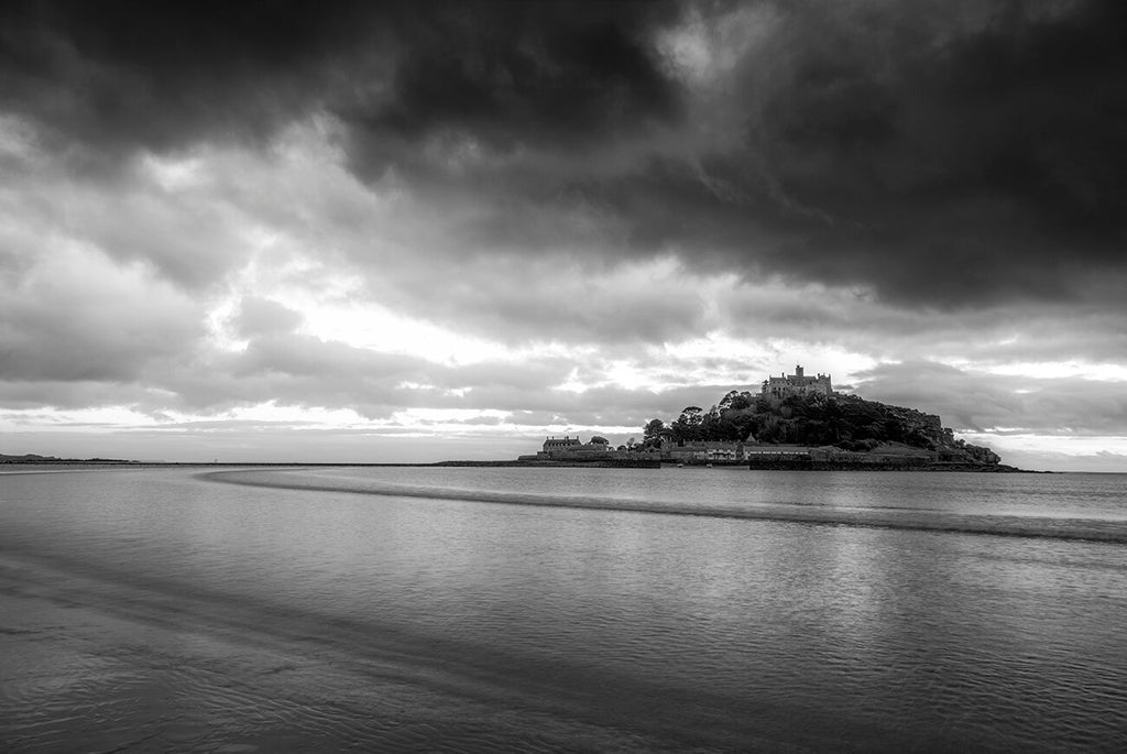 one of our photographic prints and landscape photographic photos of st michaels mount on the cornish coast not far from the little village of marazion