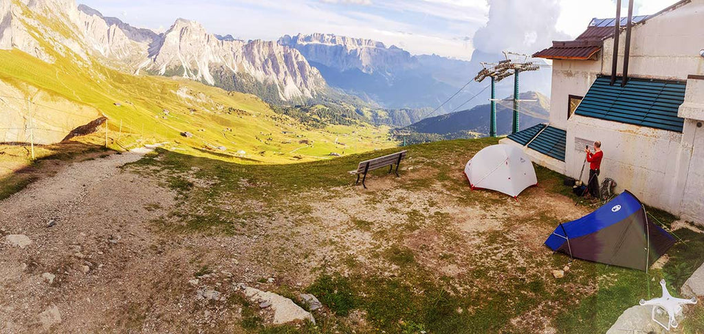 Camping at seceda for landscape photography on my road trips of italy