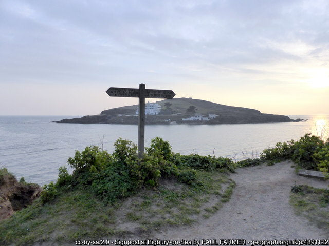 Bigbury and burgh island at high tide with the causeway covered