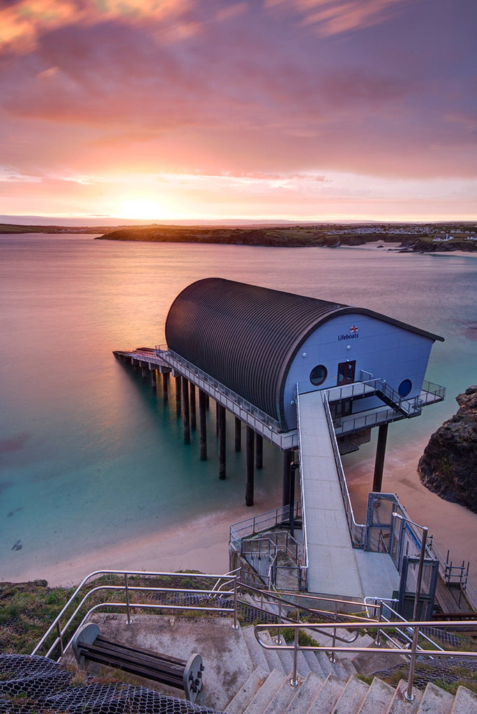 One of our artwork prints of the padstow lifeboat station, looking out to sea