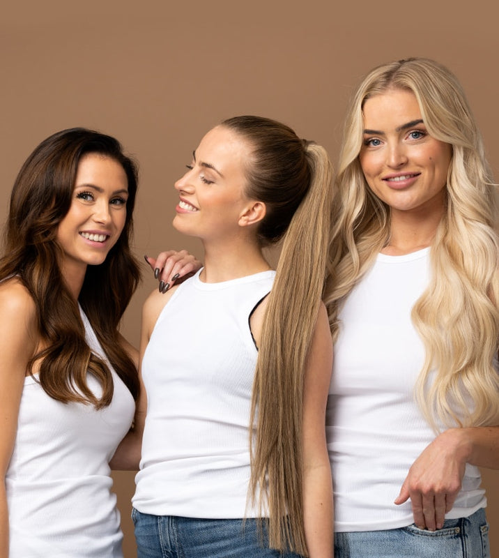 Ponytail og halo hair extensions