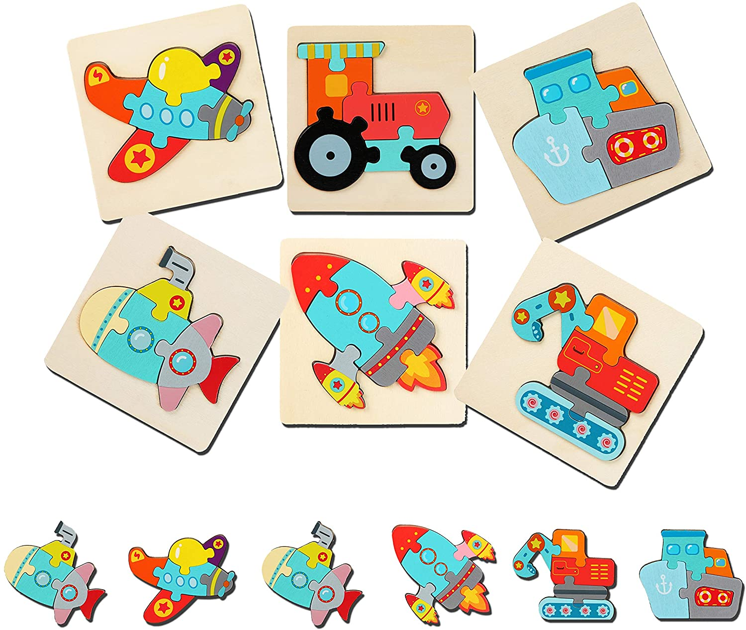 Montessori Vehicles Puzzles (PACK OF 6!)