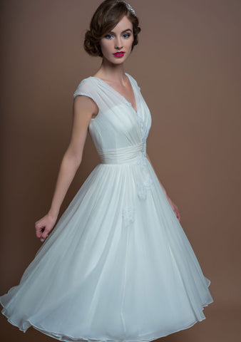 Fifties style tea length wedding dress