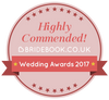 FairyGothMother has  been Highly Commended (runner-up) as wedding dress supplier in the Bridebook.co.uk Wedding Awards 2017