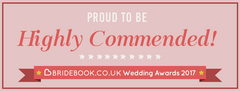 We've been Highly Commended (runner-up) as wedding dress supplier in the Bridebook.co.uk Wedding Awards 2017