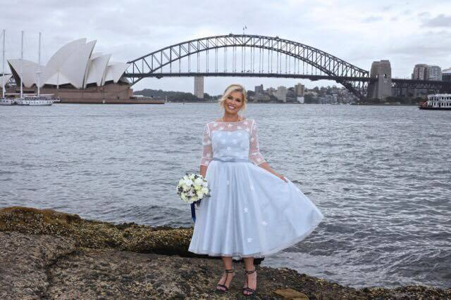 d9af461a85a This bride chose a pale blue with her  Wendy  Fifties length wedding dress  with sleeves. This pale blue wedding dress makes us think of Alice in  Wonderland ...