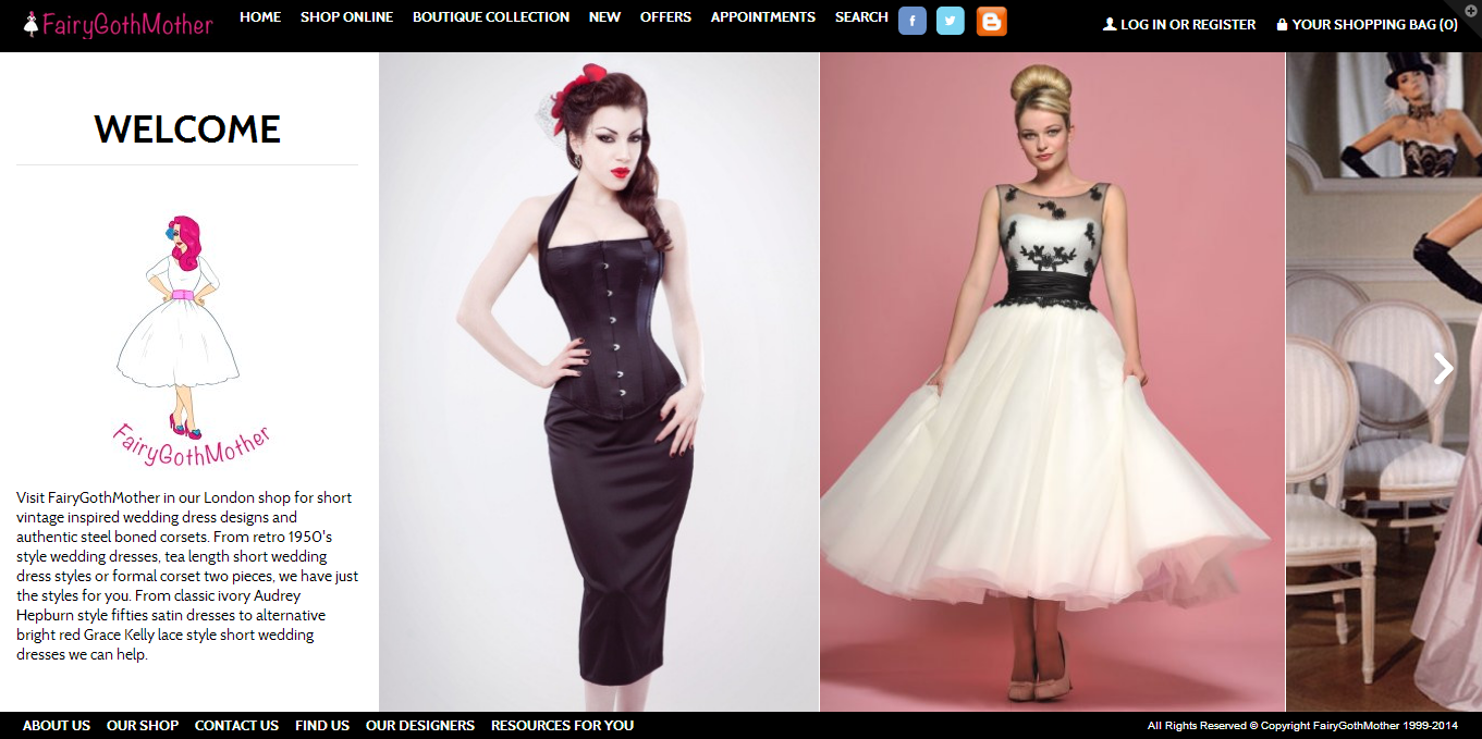 FairyGothMother - the home of retro tea length wedding dresses and quality corsets
