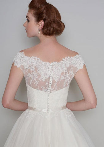 Rear view of Flossie Fifties style tea length wedding dress