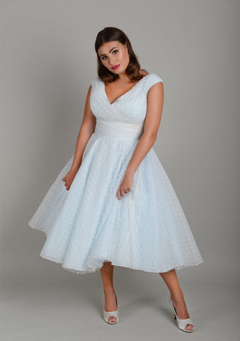 baby blue plus size tea length wedding dress is spotted tulle