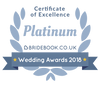 We've been awarded the Platinum Certificate of Excellence 2018 by Bridebook.