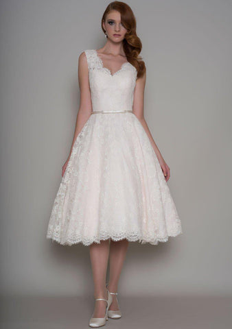 Rose is a Vintage inspired Fifties tea length wedding dress