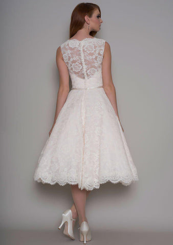 Rear view of the Rose Vintage inspired Fifties tea length wedding dress