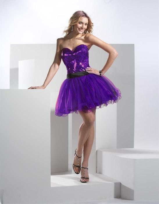 Image of prom dress with purple sequin corset style bodice and super full short skirt.