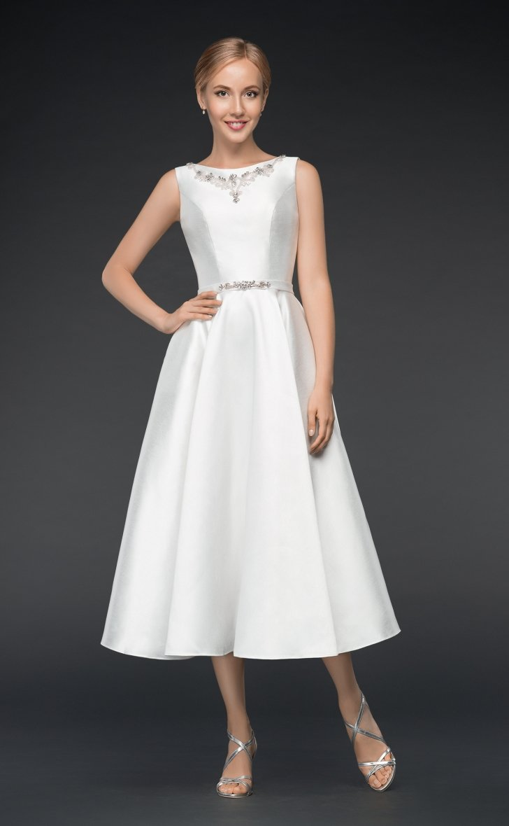 Image of Katie - a simple light weight Ivory Mikado satin wedding dress with embellished bodice