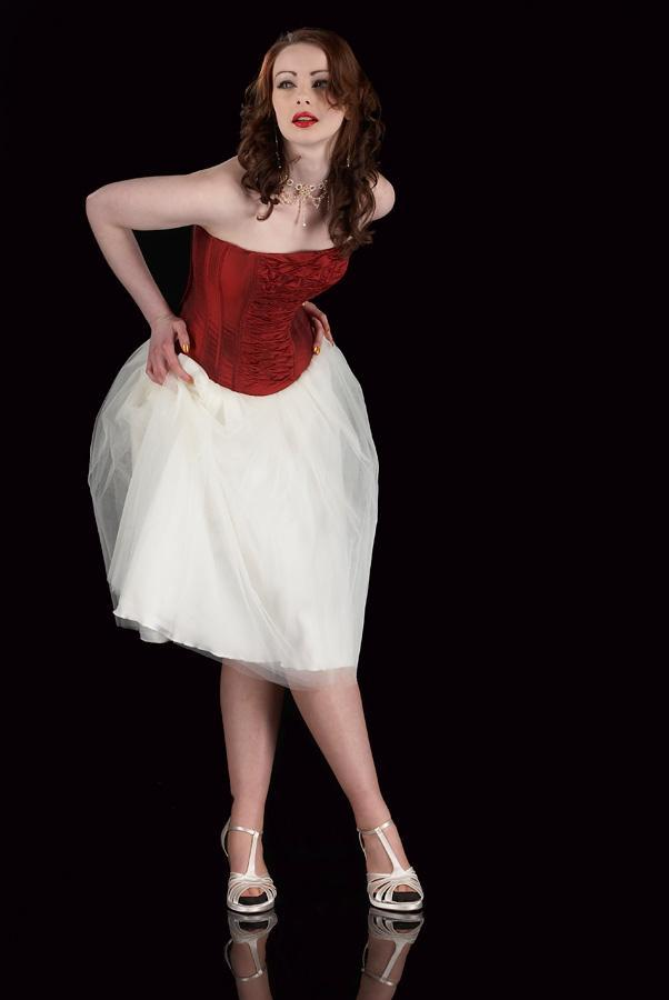 Image of soft tulle Fifties length occasion skirt in ivory